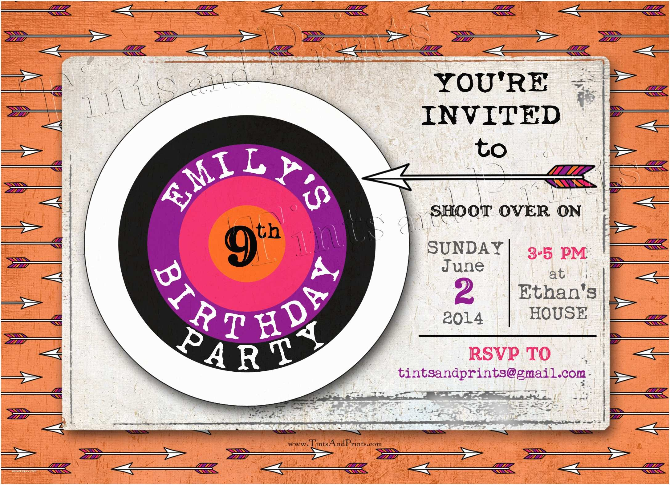 Target Birthday Invitations Shoot Over for An Archery Party Custom Card