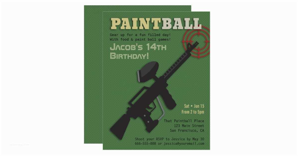 Target Party Invitations Tar Paintball Birthday Party Invitations