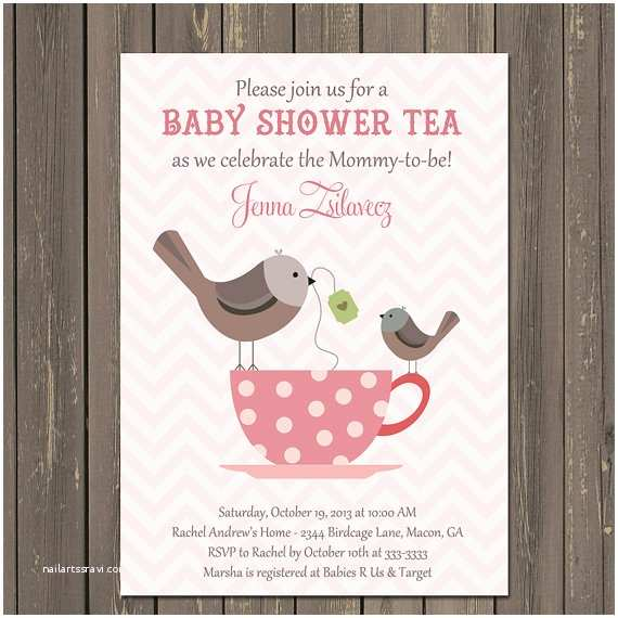 Tea Party Baby Shower Invitations Baby Shower Tea Party Invitation Bird Baby Shower Invite
