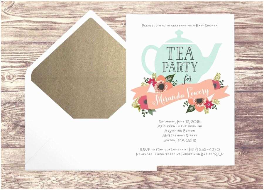 Tea Party Baby Shower Invitations Printed Baby Shower Tea Party Invitation with Gold