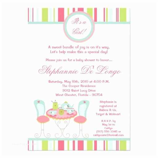 Tea Party Baby Shower Invitations Tba 5x7 Trendy Tea Party Baby Shower Invitation