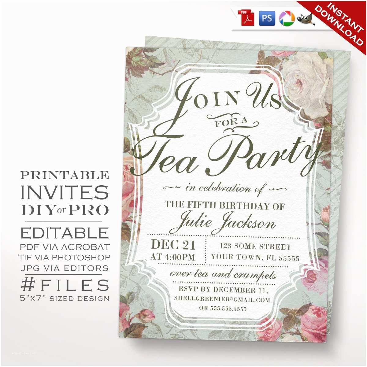 Tea Party Birthday Invitations Birthday Tea Party Invitation Template Vintage Rose Tea