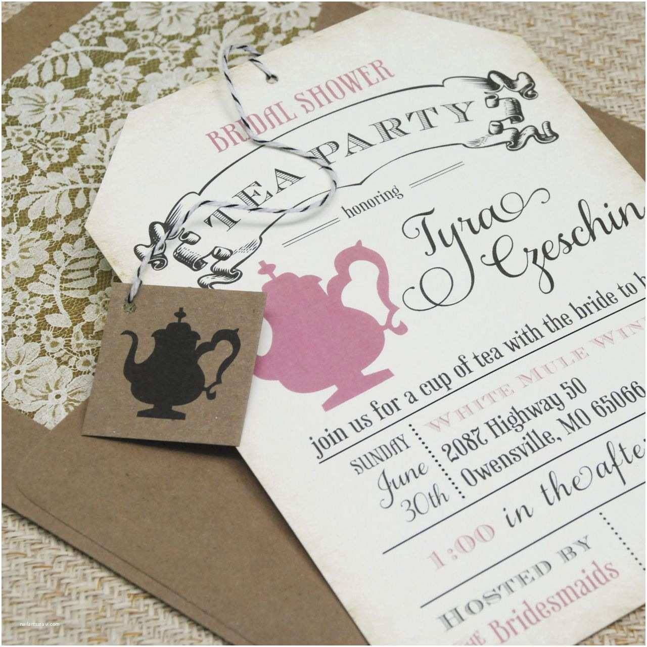 Tea Party Birthday Invitations Bridal Shower Tea Party Invitations Vintage Bridal