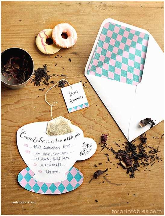 Tea Party Birthday Invitations Printable Tea Party Invitations Mr Printables