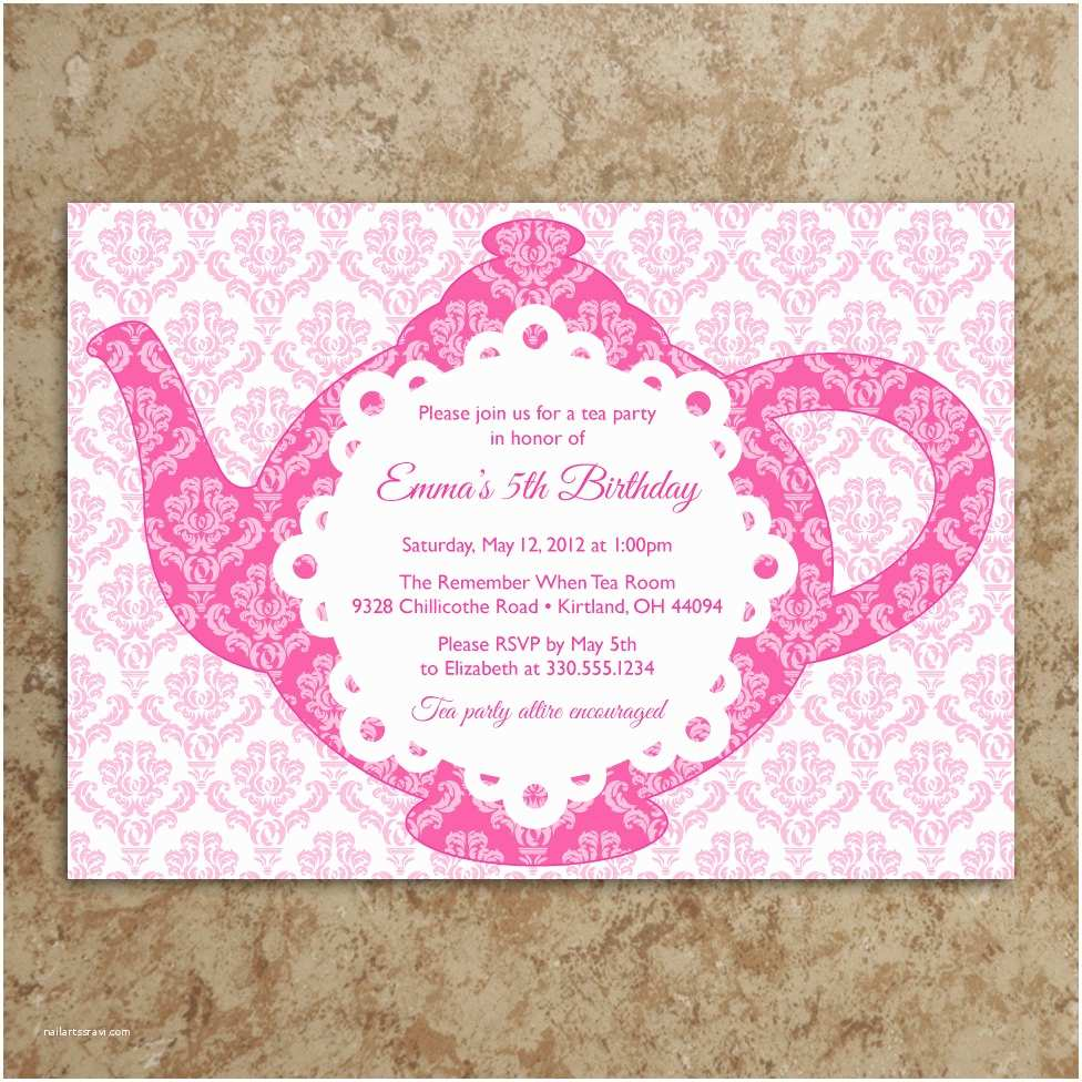 Tea Party Birthday Invitations Tea Party Invitation Diy Printable Pdf Tea by Designswithstyle
