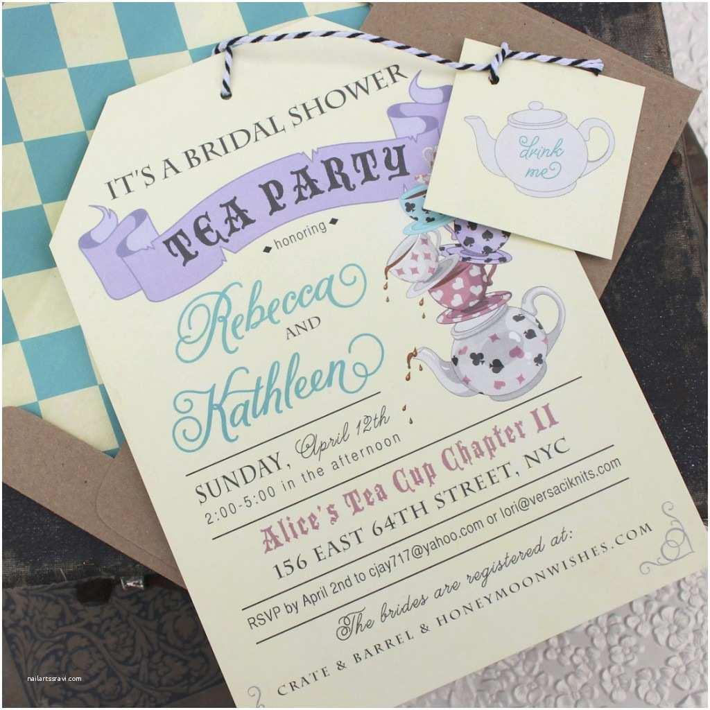 Tea Party Bridal Shower Invitations Alice In Wonderland Tea Party Bridal Shower Invitations