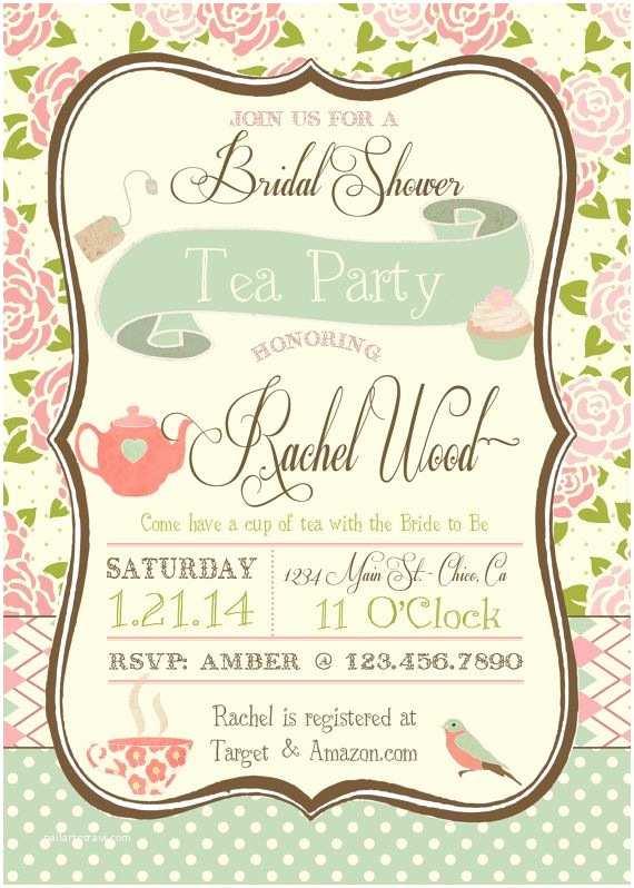 Tea Party Bridal Shower Invitations Tea Party Bridal Shower Invitation by Rawkonversations On