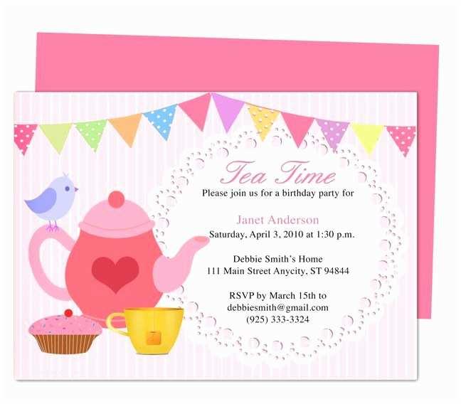Tea Party Invitation Template afternoon Tea Party Invitation Party Templates Printable