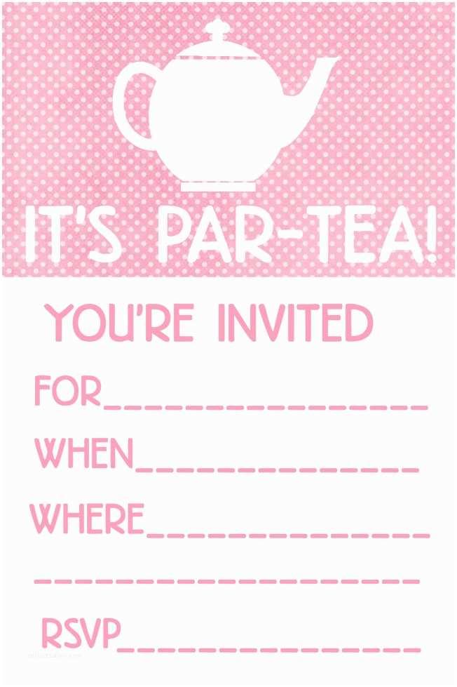 Tea Party Invitation Template Little Girl Tea Party Menu Ideas