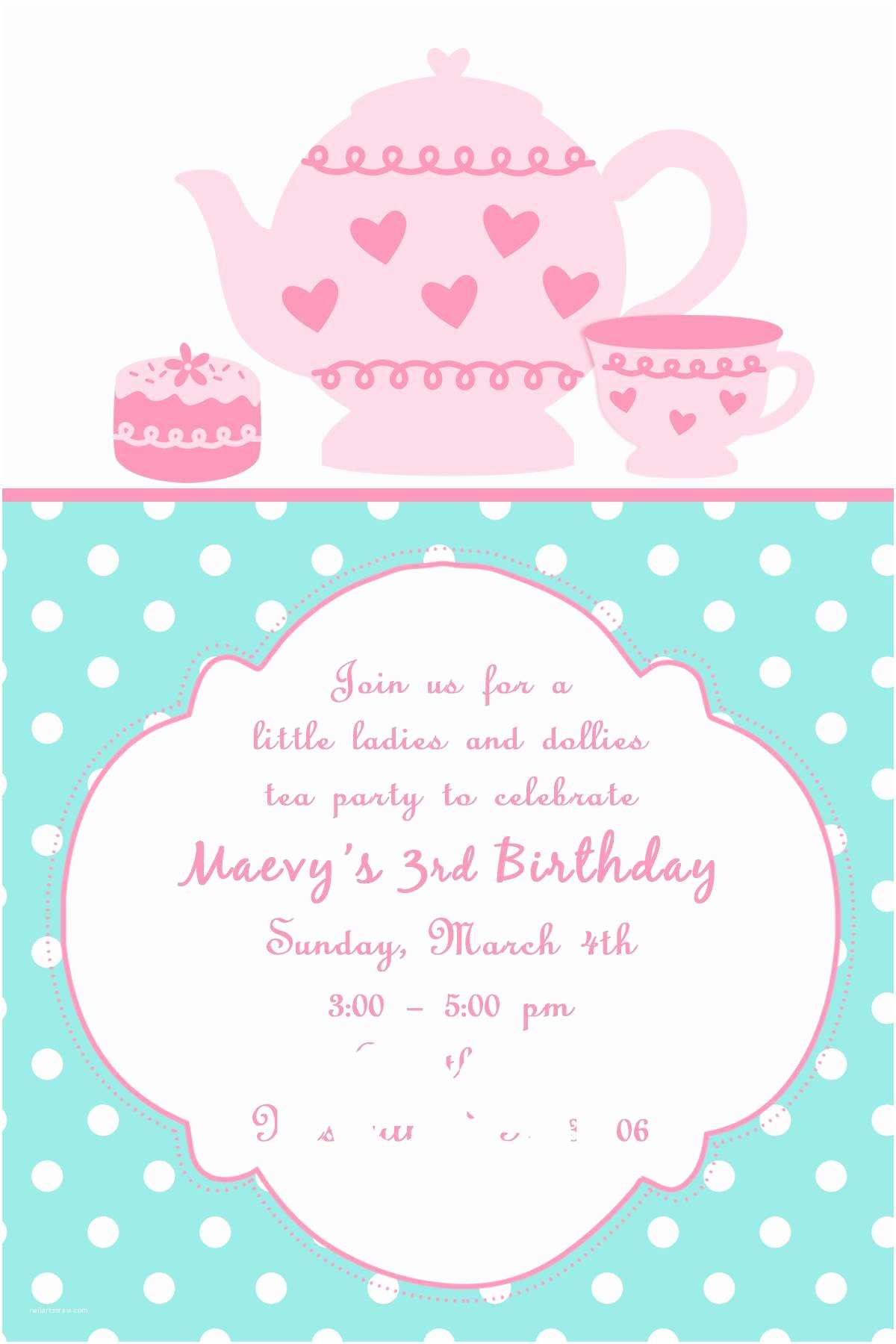 Tea Party Invitation Template Tea Party Invites
