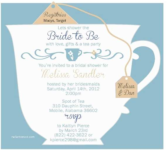 Tea Party Invitation Wording Bridal Tea Party Invitations