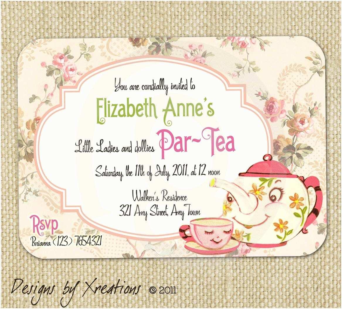 Tea Party Invitation Wording Cute Vintage Tea Party Invitation Digital Template