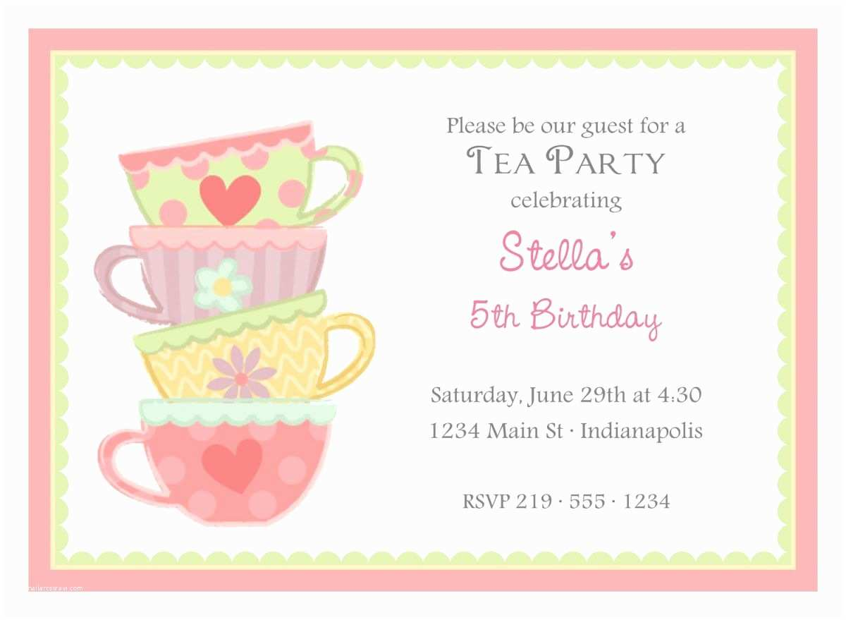 Tea Party Invitation Wording Free afternoon Tea Party Invitation Template