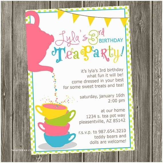 Tea Party Invitation Wording Items Similar to Tea Party Birthday Invitation On Etsy