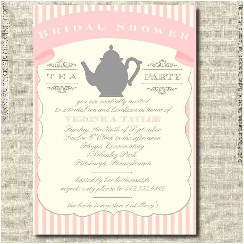 Tea Party Invitation Wording Party Invitations Tea Party Bridal Shower Invitations