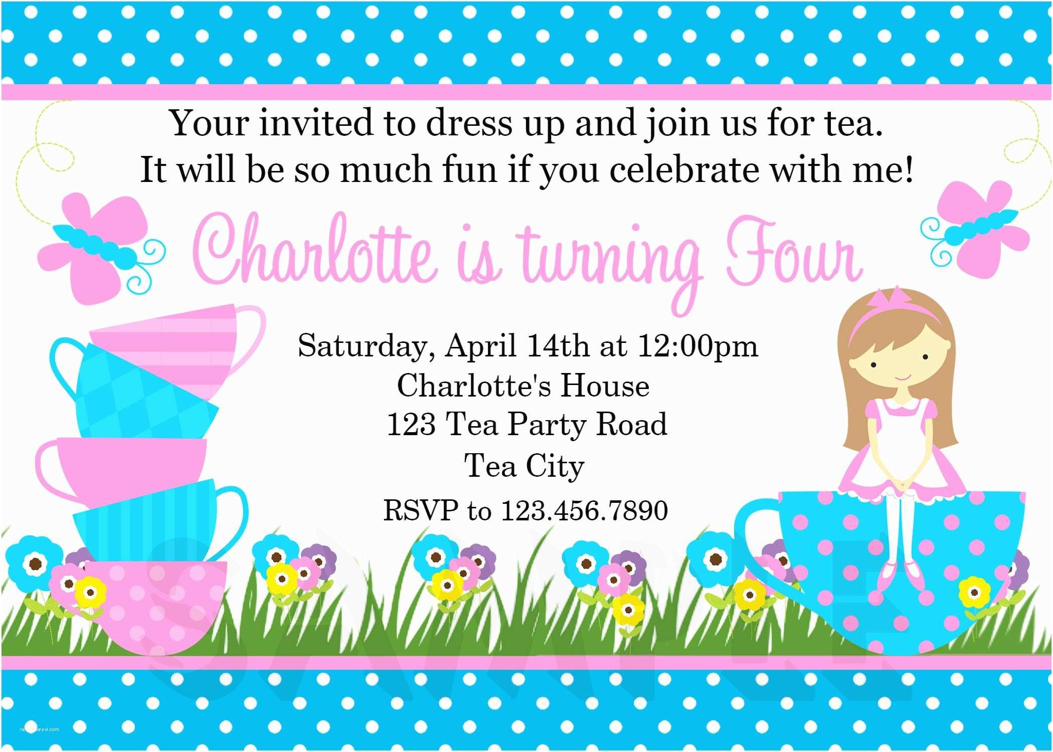 Tea Party Invitation Wording Printable Birthday Invitations Girls Tea Party