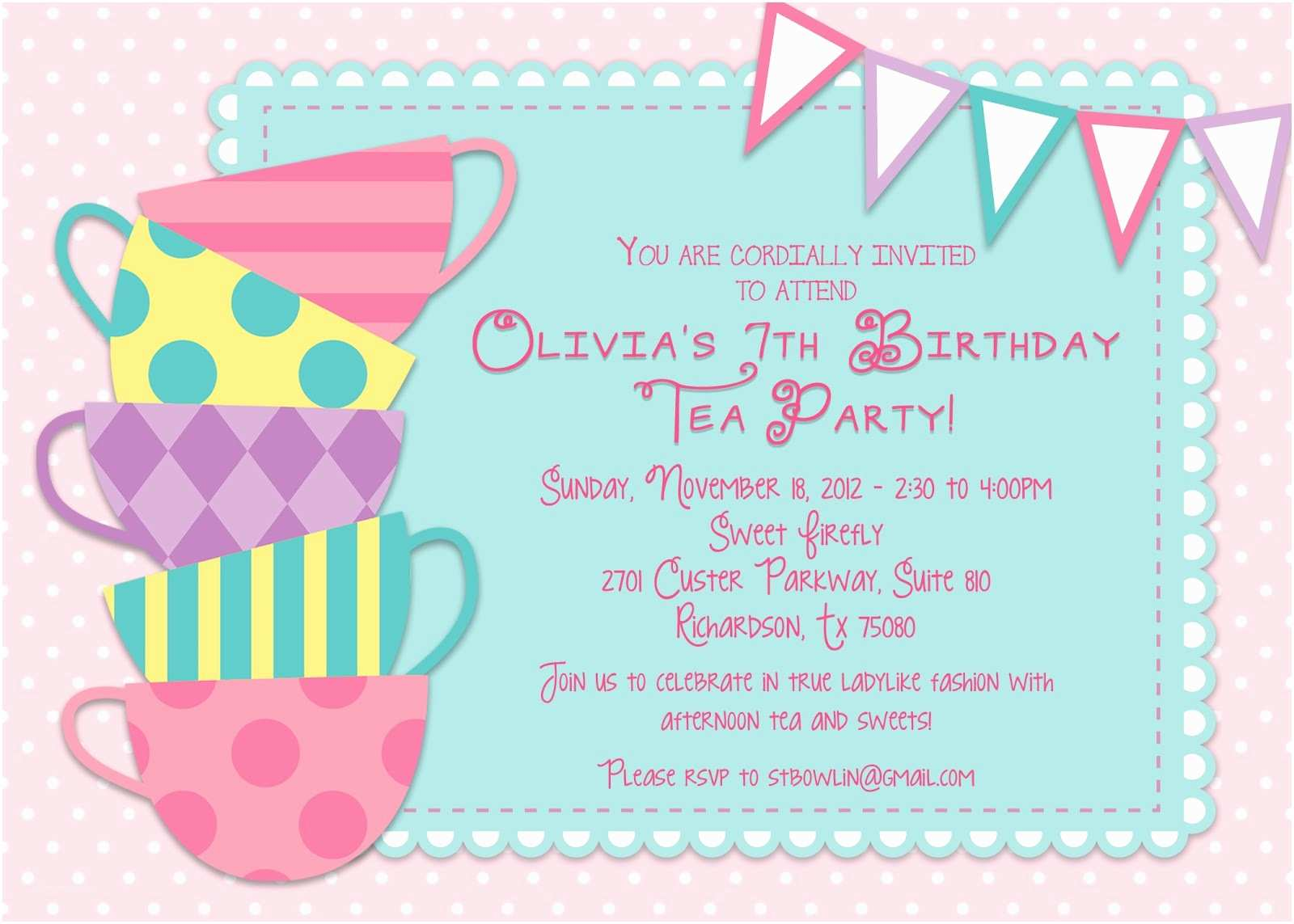 Tea Party Invitation Wording Tea Party Birthday Invitations Sansalvaje