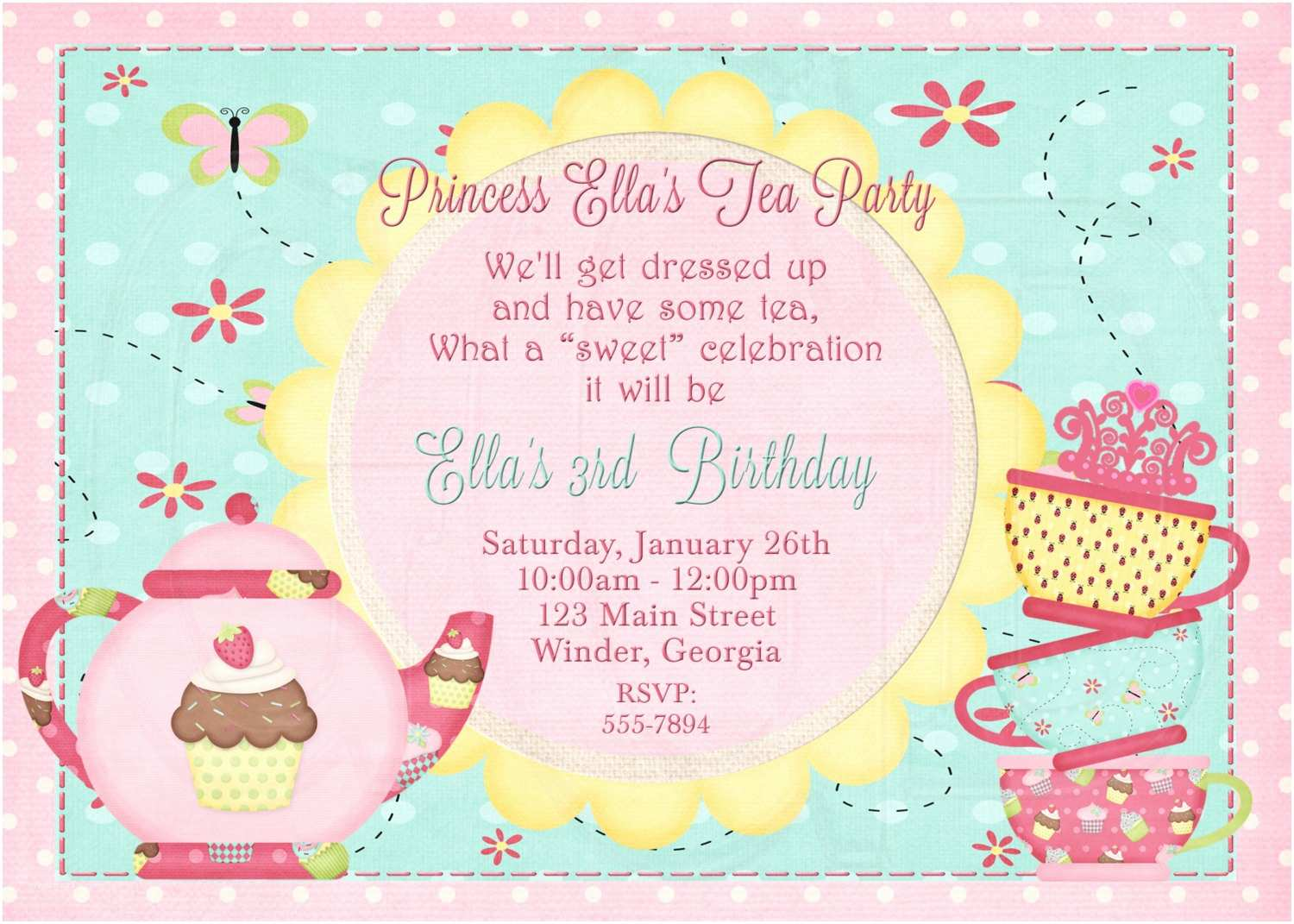 tea party invitation birthday dress up