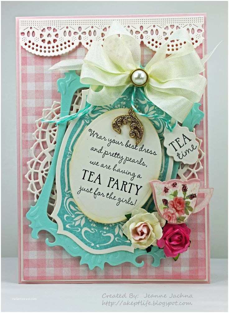 Tea Party Invitations 3d Tea Party Invitations with White Ribbon and Red Rose On