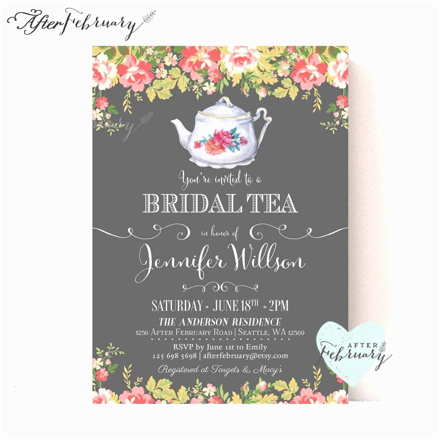 Tea Party Invitations Bridal Shower Invite Bridal Shower Invite Wording Card