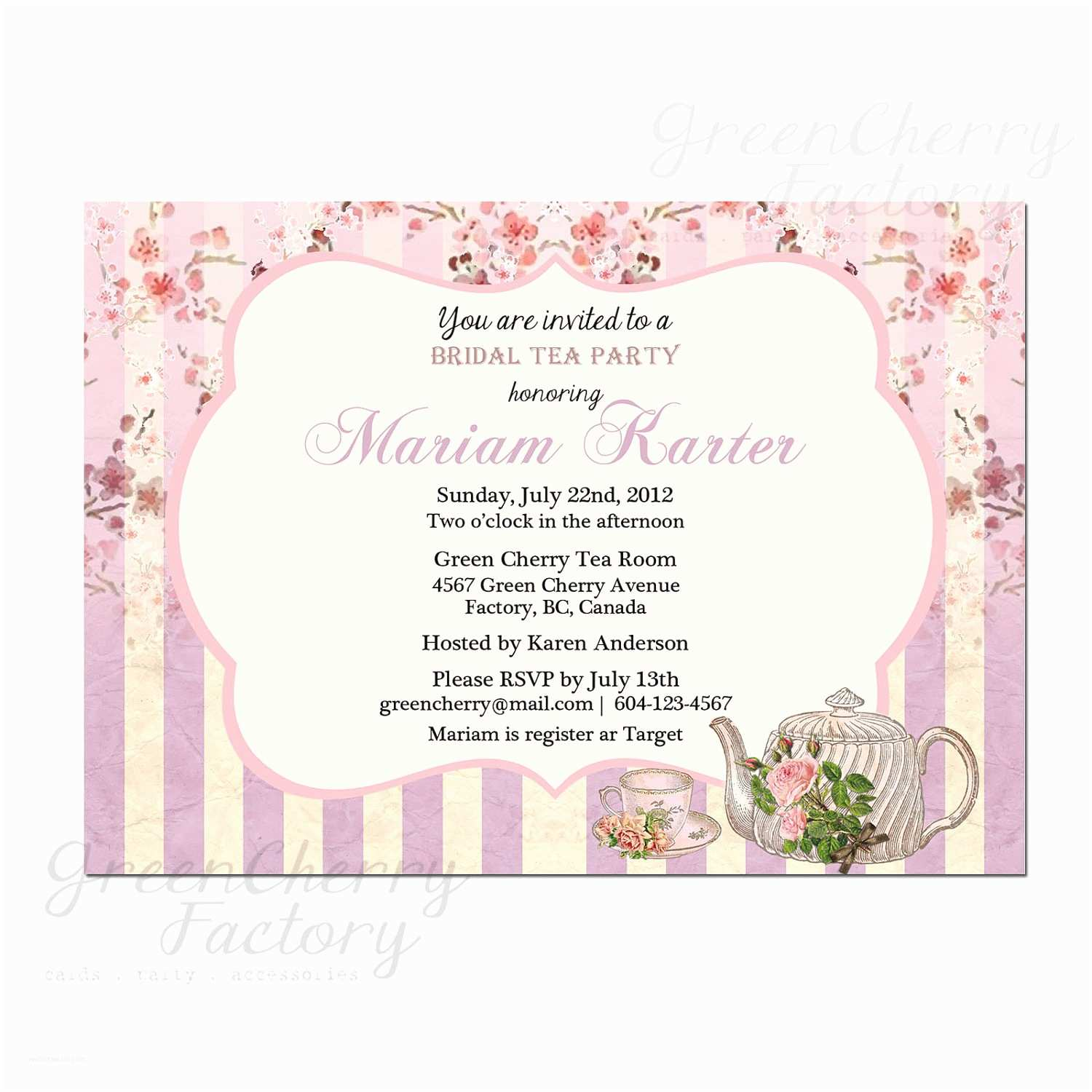 Tea Party Invitations Bridal Shower Tea Party Invitation Wording