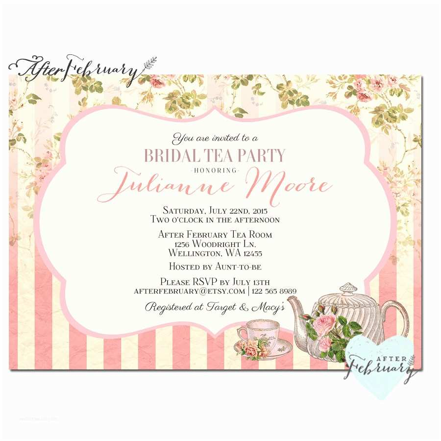 Tea Party Invitations Bridal Shower Tea Party Invite Tea Party Invitation Bridal