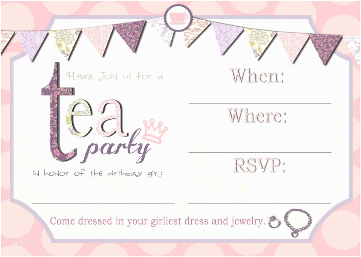 Tea Party Invitations Free afternoon Tea Invitation Template
