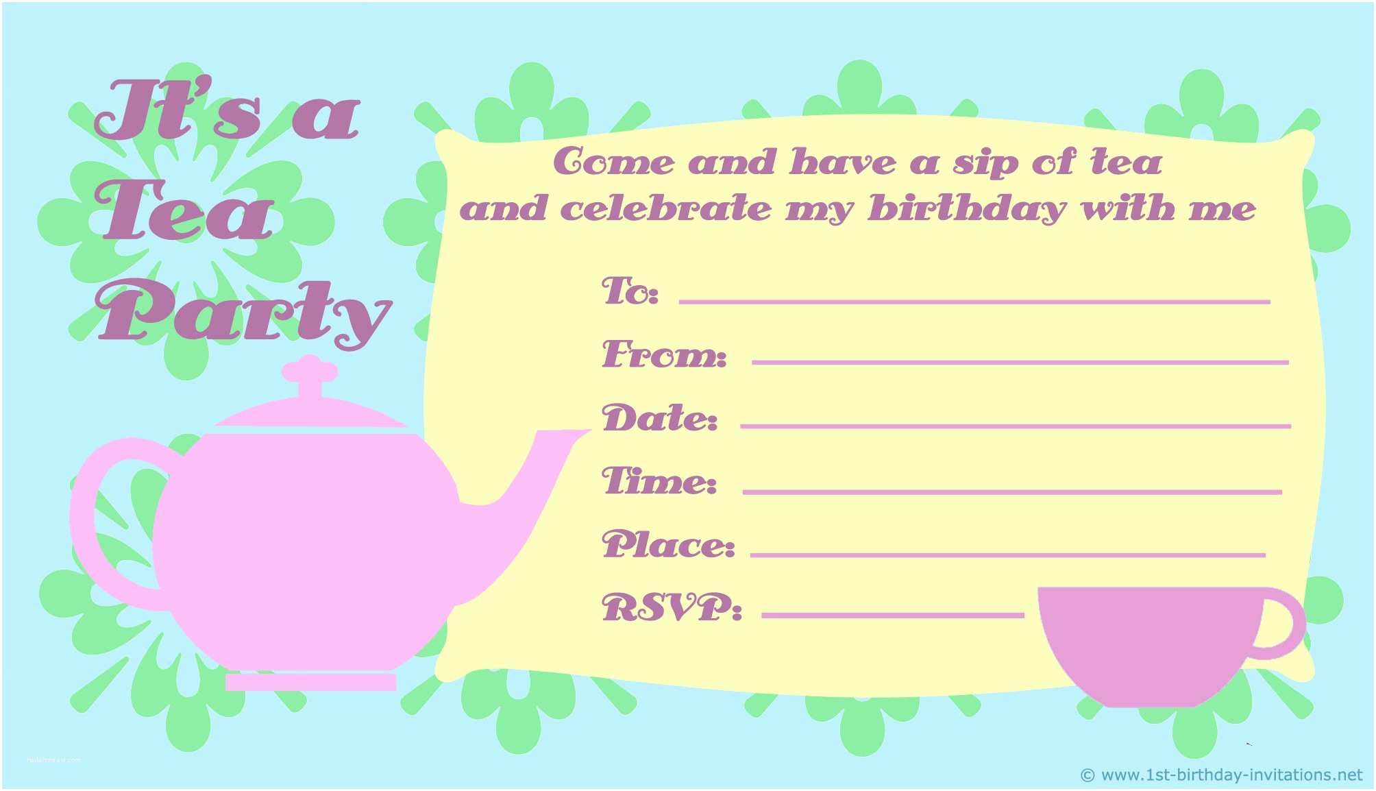Tea Party Invitations Kids Birthday Party Invitations Free & Printable