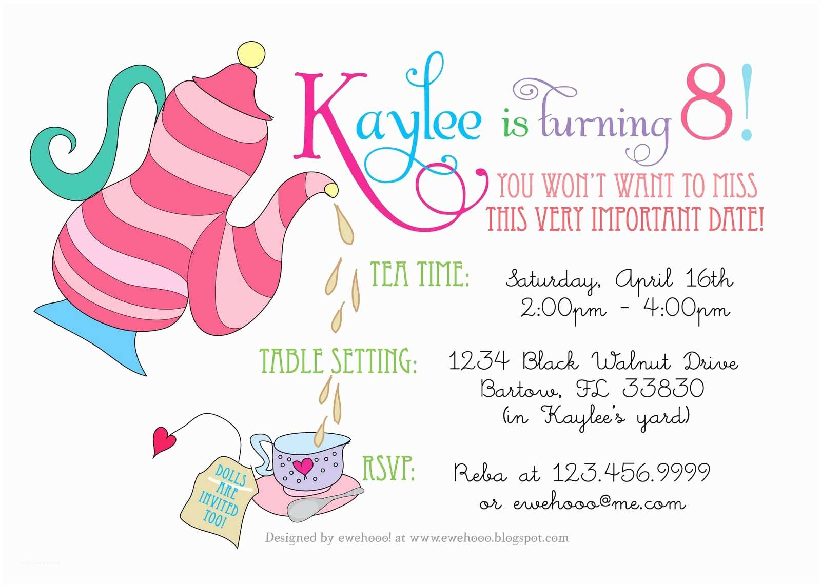 little girl tea party invitations