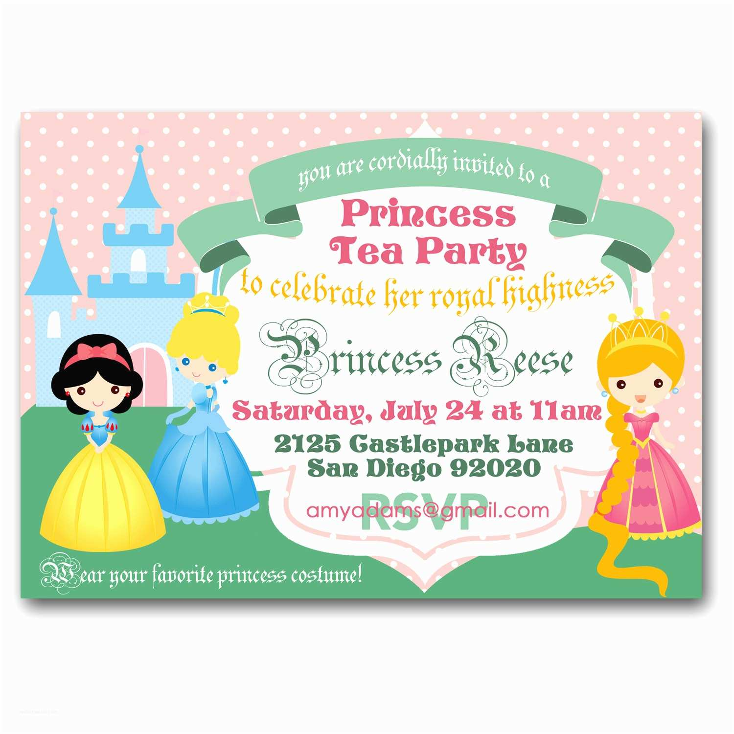 Tea Party Invitations Princess Tea Party Invitation Royal Tea Birthday Party
