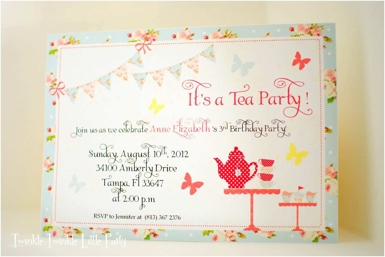 Tea Party Invitations Shabby Chic Tea Party Birthday Invitation by