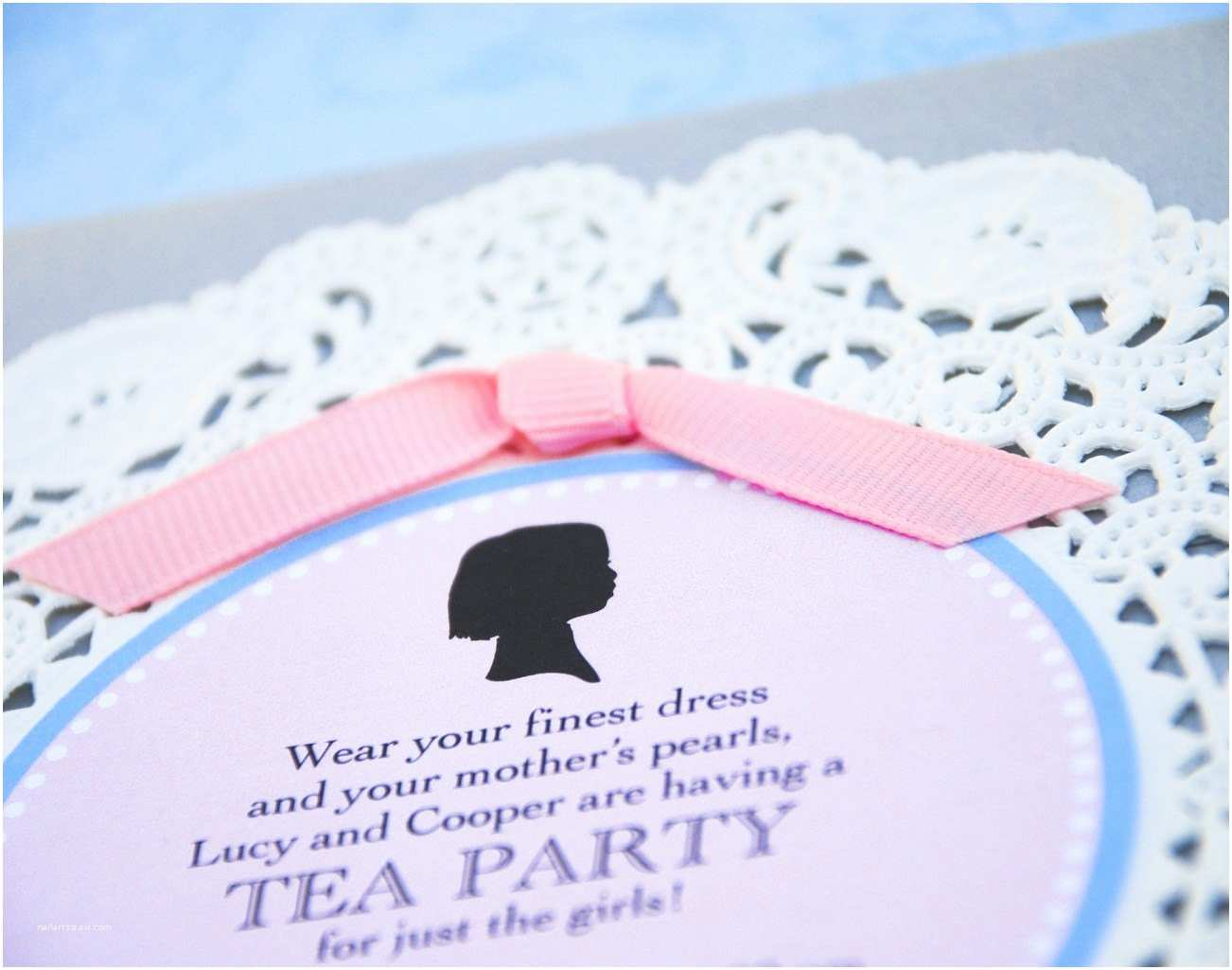 Tea Party Invitations Silhouette and Doily Tea Party Invitation Design Fee