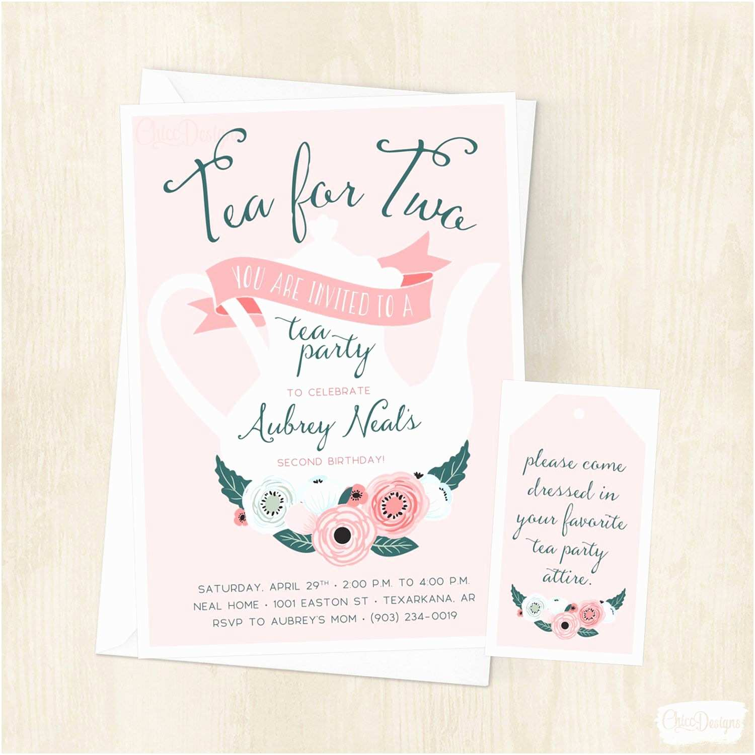 Tea Party Invitations Tea for Two Birthday Invitation Little Girls Tea Party