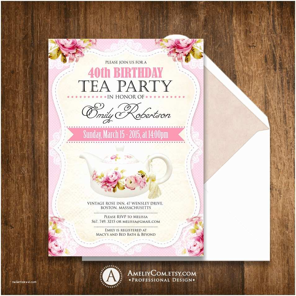 Tea Party Invitations Tea Party Birthday Invitation Printable Adult Girl Invite
