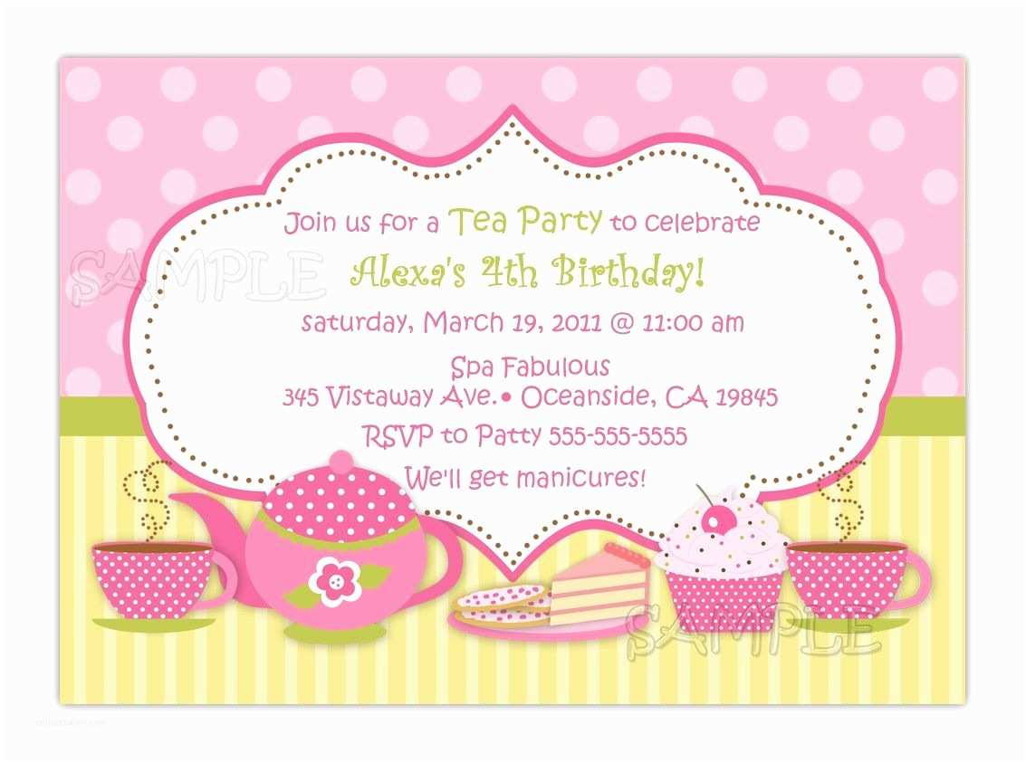 Tea Party Invitations Tea Party Birthday Invitation You Print