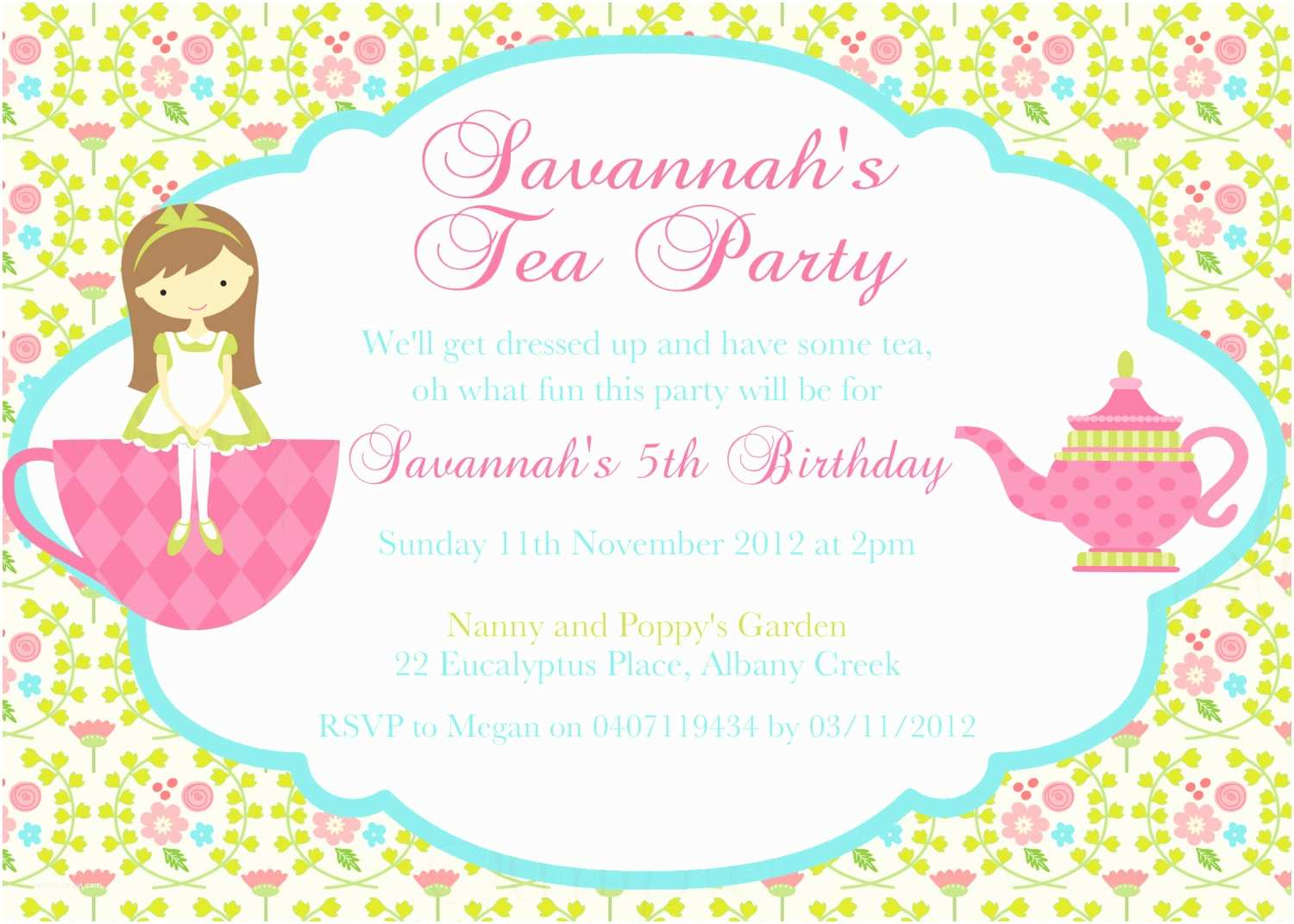 Tea Party Invitations Tea Party Birthday theme Printable Invitation and Gift Favor