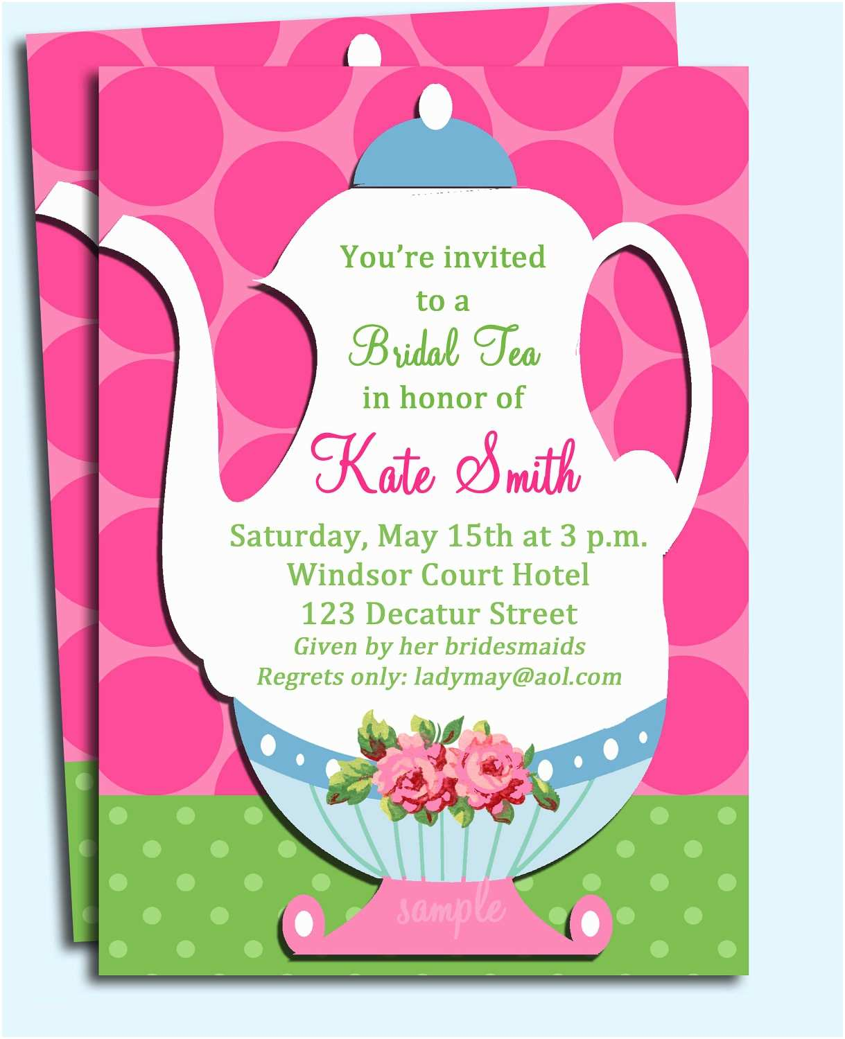 Tea Party Invitations Tea Party Invitation Printable or Printed with Free Shipping