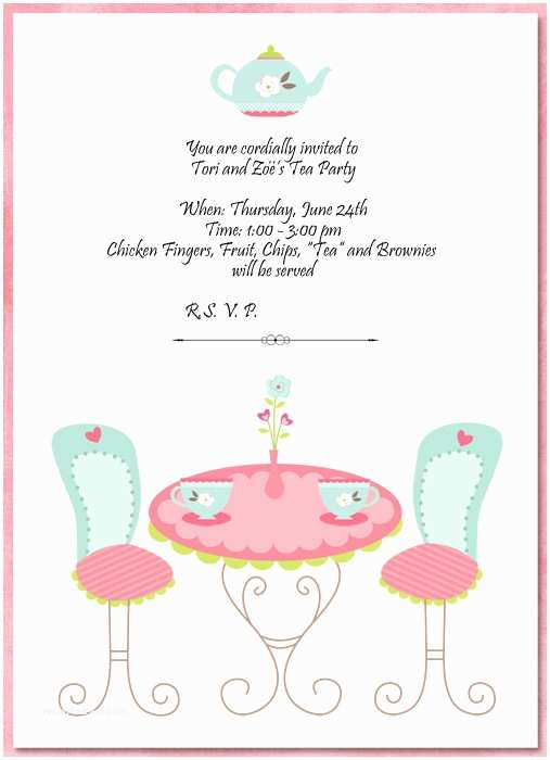 Tea Party Invitations Tea Party Invitation Template