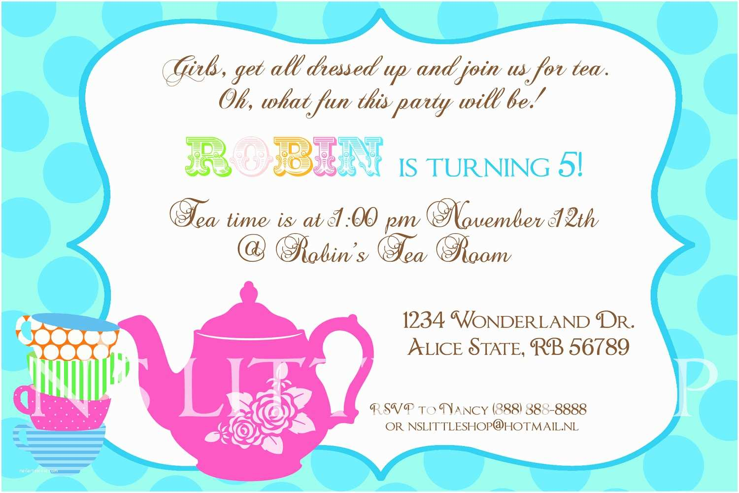 Tea Party Invitations Tea Party Invitation Wording Template