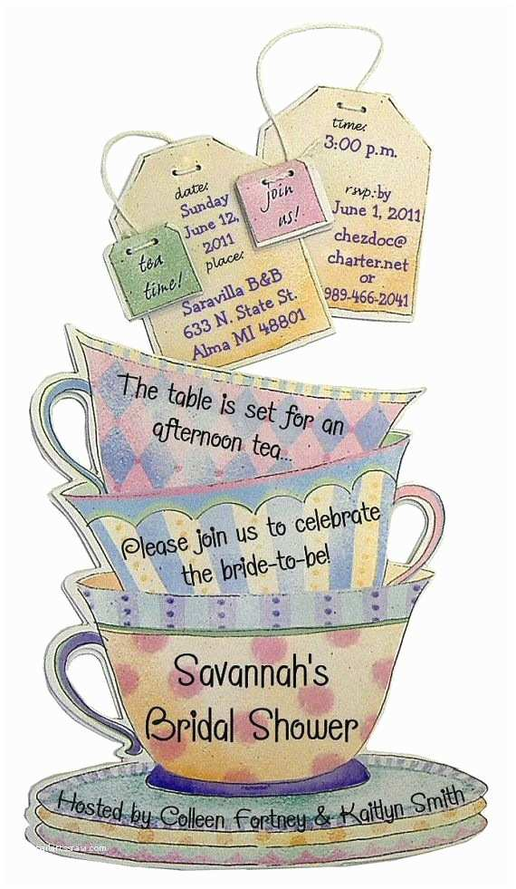 Tea Party Invitations Teacup Invitations 12 Personalized Birthday by