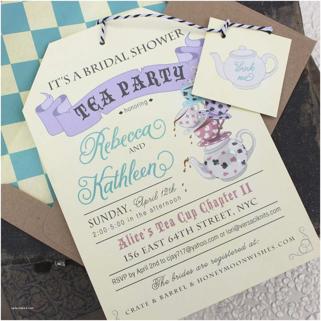 Tea Party Wedding Invitations Alice In Wonderland Tea Party Bridal Shower Invitation