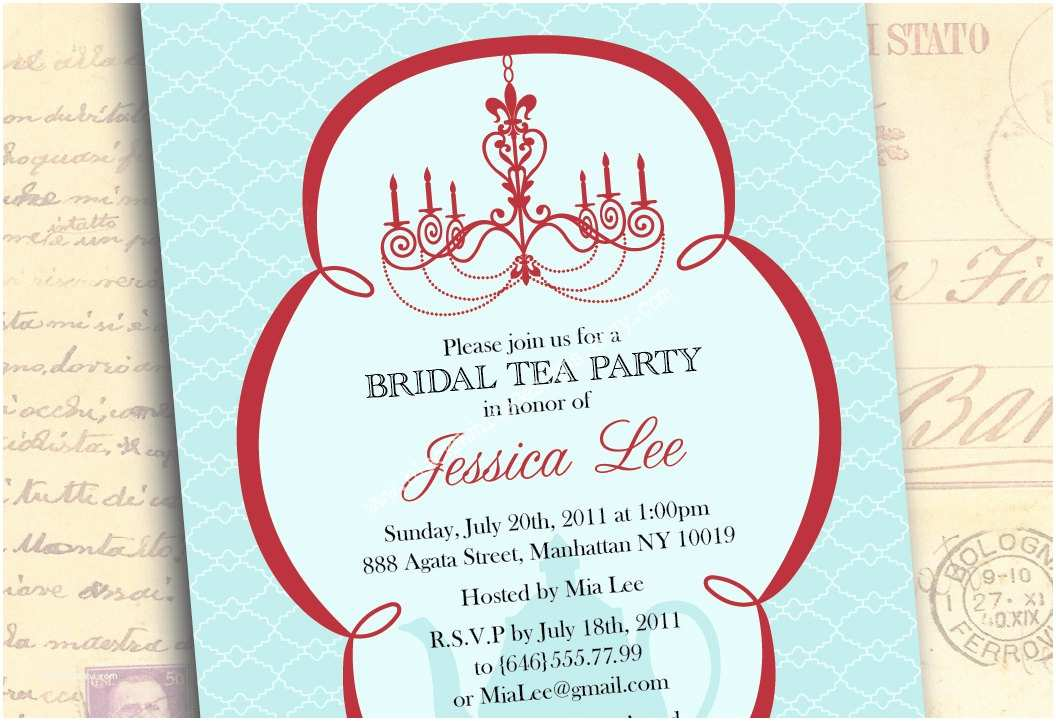 Tea Party Wedding Invitations Bridal Shower Invitations Tea Party Bridal Shower