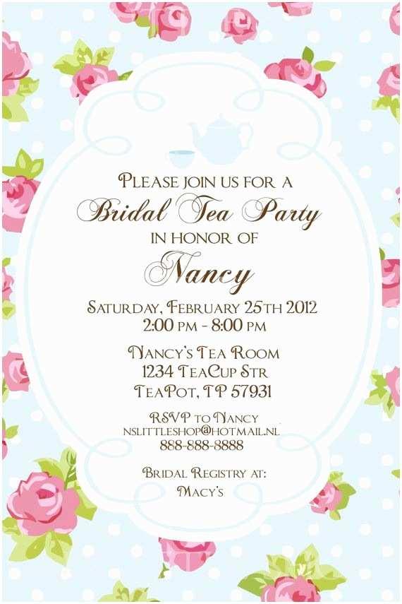 "Tea Party Wedding Invitations Bridal Shower ""tea Party"" Invitations English Rose Tea"