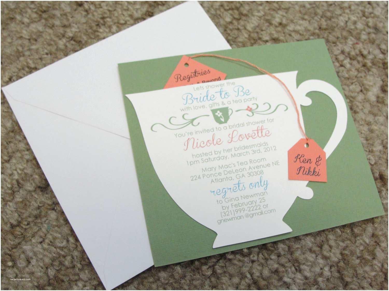 Tea Party Wedding Invitations Bridal Shower Tea Party Cup Invitation