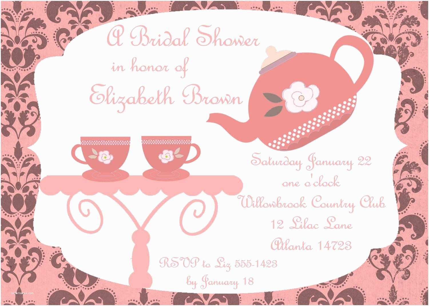Tea Party Wedding Invitations Bridal Shower Tea Party Invitations Bridal Shower Tea