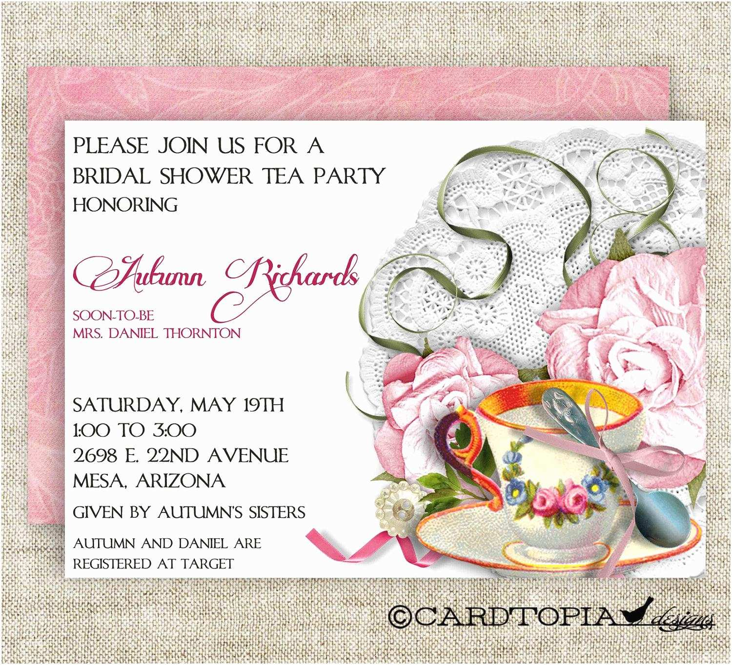 Tea Party Wedding Invitations Bridal Shower Tea Party Invitations