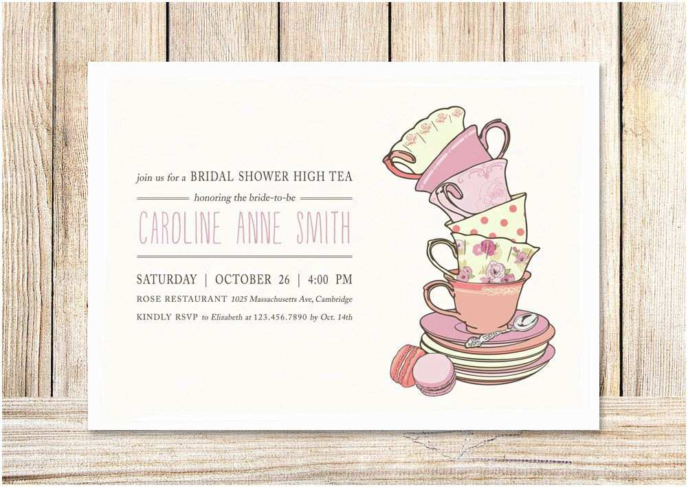 Tea Party Wedding Invitations Bridal Shower Tea Party Invitations Template 4rh78nah