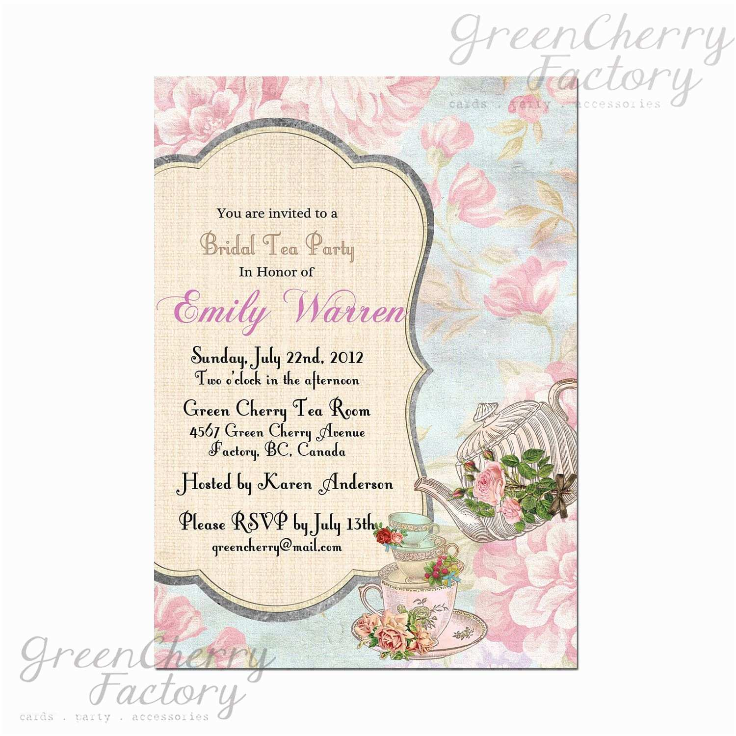 Tea Party Wedding Invitations Bridal Shower Tea Party Invitations Wedding Shower Tea