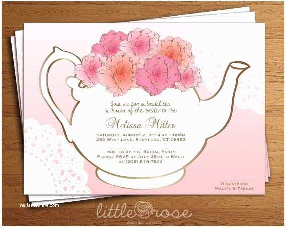Tea Party Wedding Invitations Bridal Tea Party Invitation Floral Teapot Bridal Shower