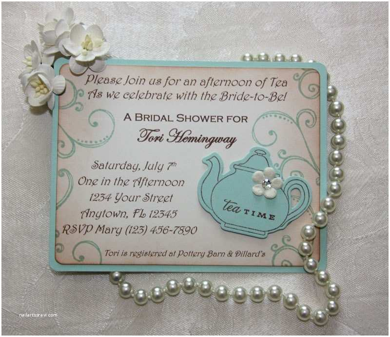 Tea Party Wedding Invitations Bridal Tea Party Invitations Bridal Luncheon Aqua